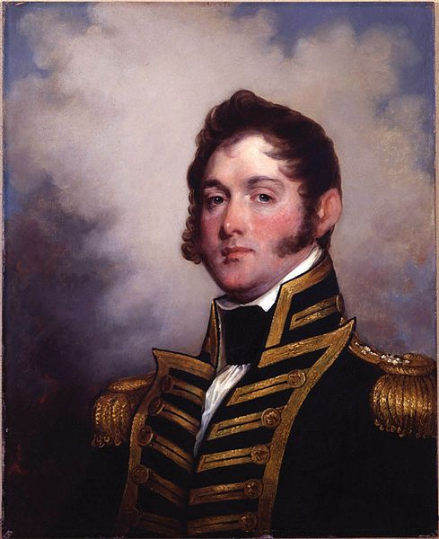 """""""Oliver Hazard Perry"""" (1785-1819), by Gilbert Stuart. Perry served in the U.S. Navy during the Quasi War with France and the Barbary Wars. He fought piracy and the slave trade, but is most noted for his heroic role in the War of 1812 during the Battle of Lake Erie."""
