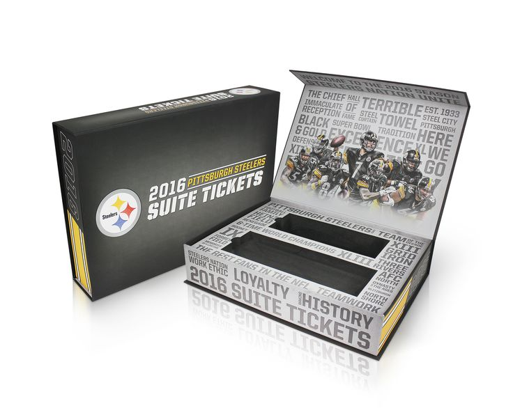 Following the success of the 2015 Luxury Suite Ticket Box that we produced for the NFL, American Football team, the Pittsburgh Steelers, we were delighted to be commissioned again to produce another quality presentation box for their 2016 Suite Tickets.
