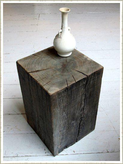 Aged Oak Wood Block Stool / Side Table