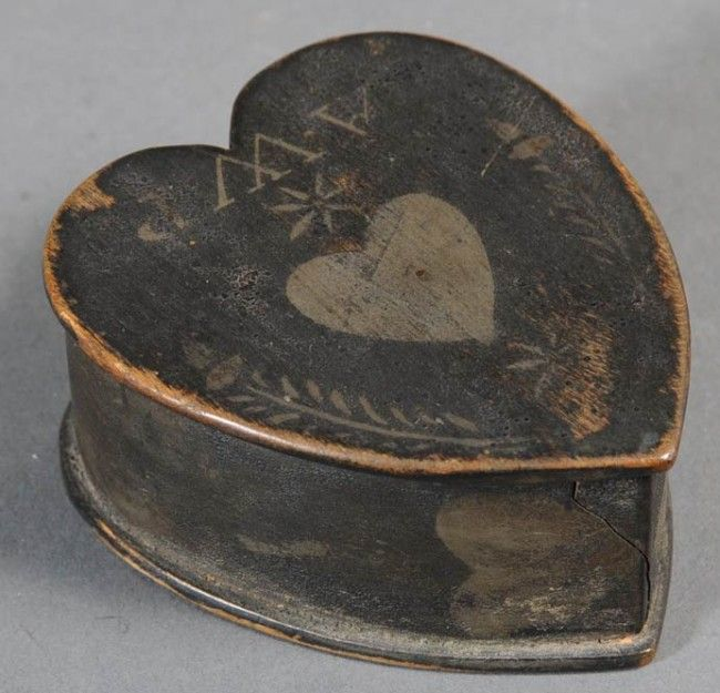PAINTED HEART SHAPED TRINKET BOX