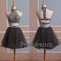 #promdress01 prom dresses - 2015 new cute grey tulle high neck two pieces beaded…