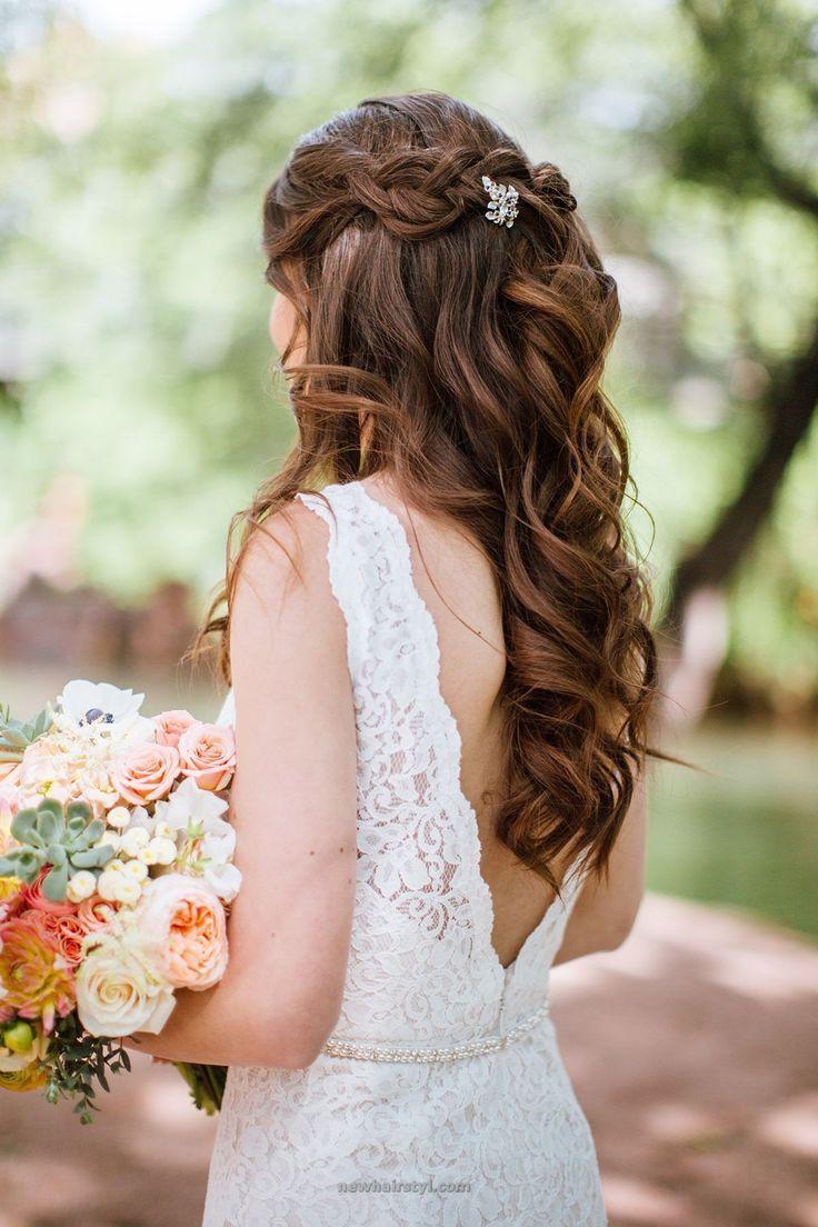 wavy wedding hair with a half up braid