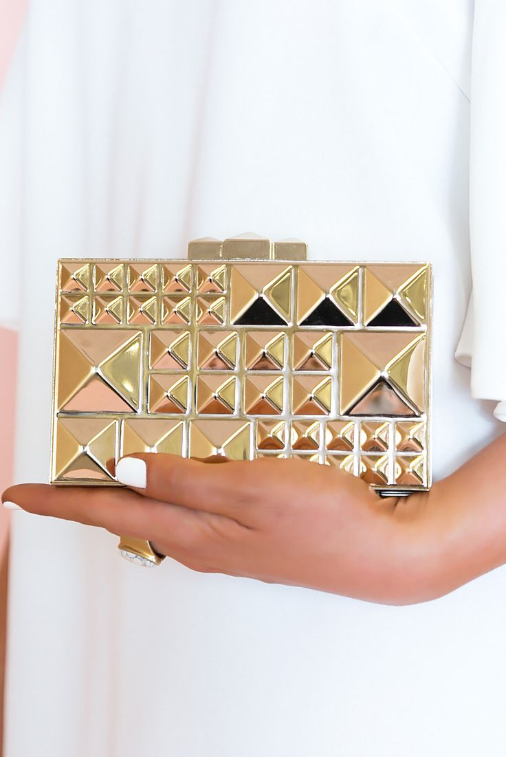 Something New Gold Studded Clutch – Haute & Rebellious