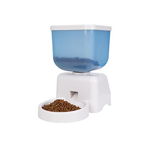 Product Description: This large LCD panel Automatic Pet Feeder works convenientlymake it easy to feed your pets on time by setting feeding procedures. Medium Capacity transparent hopper can hold 5 li...