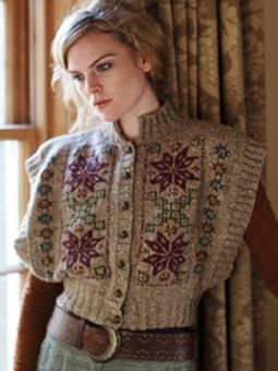 This open sided cardigan has a Nordic snowflake motif and has been designed by Lisa Richardson using Rowan Tweed.