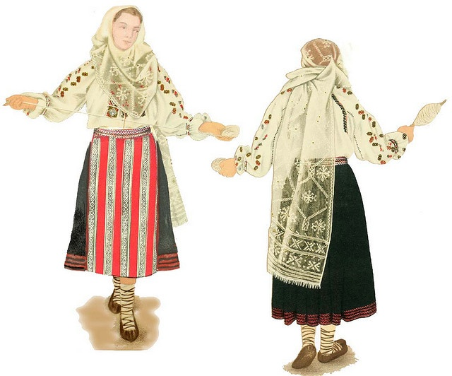 Traditional Romanian Folk Costume from Bran, Brasov, Transylvania, Romania.