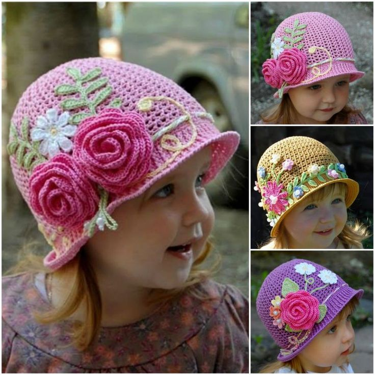 Girl's Pretty Floral Sun Hat free crochet tutorial