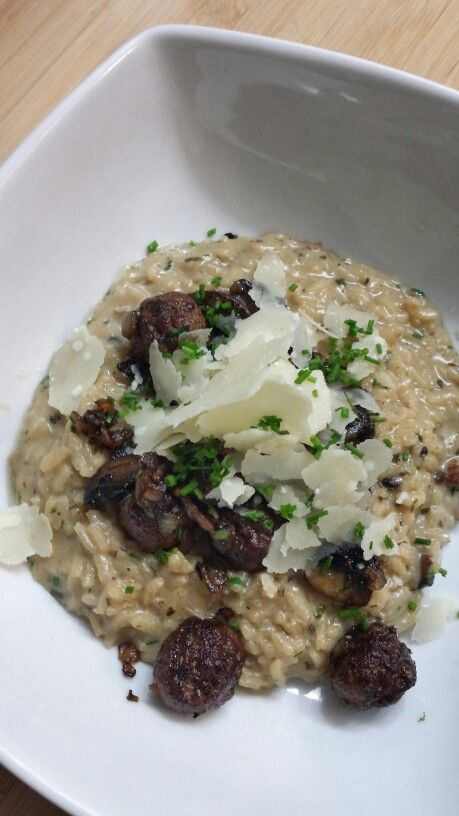 Mushroom risotto with beef meatballs, romano cheese, chives and truffle oil