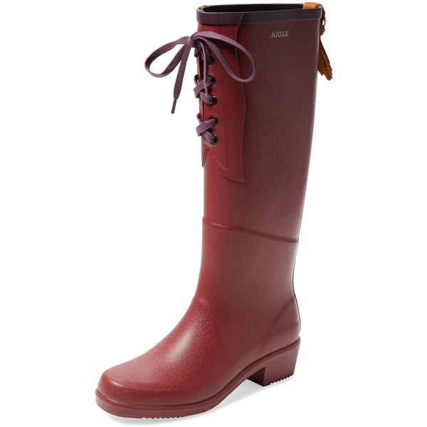 Aigle Women's Miss Juliette Lace-Up Rain Boot - Size 38 ($149) ❤ liked on Polyvore featuring shoes, boots, multi, platform boots, lace-up platform boots, lace up rubber boots, aigle boots and rubber boots