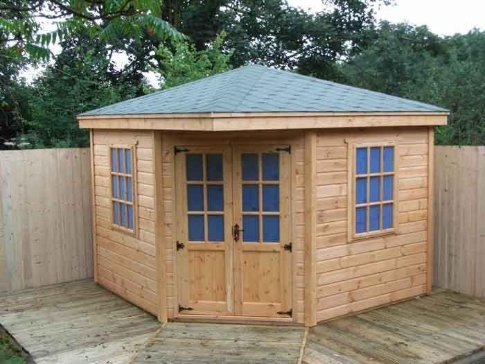 Backyard Shed Idea, (Corner Shed). I really do like this shed. #shedlandscaping #diystorageshedplans