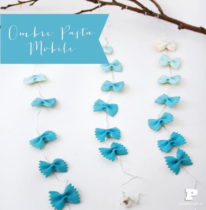 This is so simple but so effective! Ombre pasta mobile, tutorial by Karin at pysselbolaget