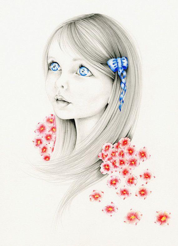 Retrato de fantasía caprichosa de encargo del retrato un dibujo Original a lápiz y arte ilustración