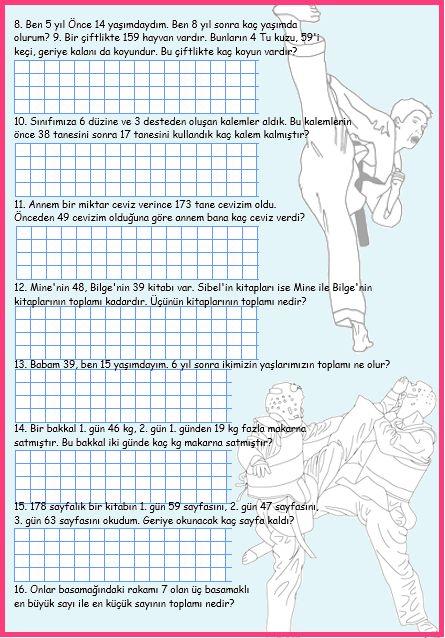 ilkokul ödevleri: 2. sınıf toplama ve çıkarma işlemi problemleri 2