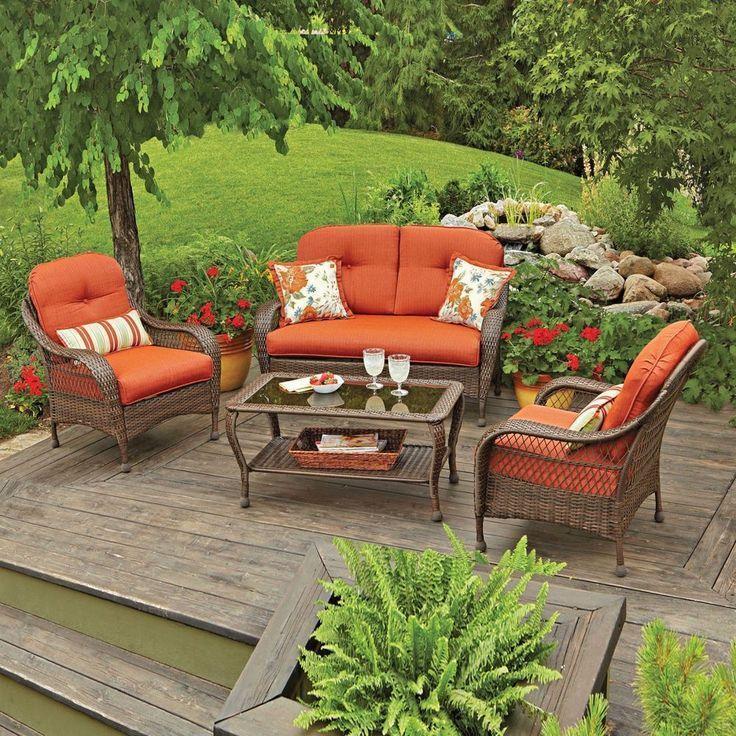 Details About 4 Pc Patio Rattan Wicker Chair Sofa Table Set Outdoor Garden Furni Rattan Garden Furniture Discount Outdoor Furniture Garden Furniture Design