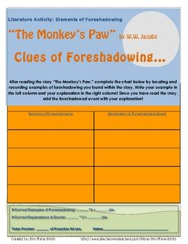 FREE The Monkey's Paw--Foreshadowing. Use this printable PDF chart for students to locate and record examples of foreshadowing after or during the reading of