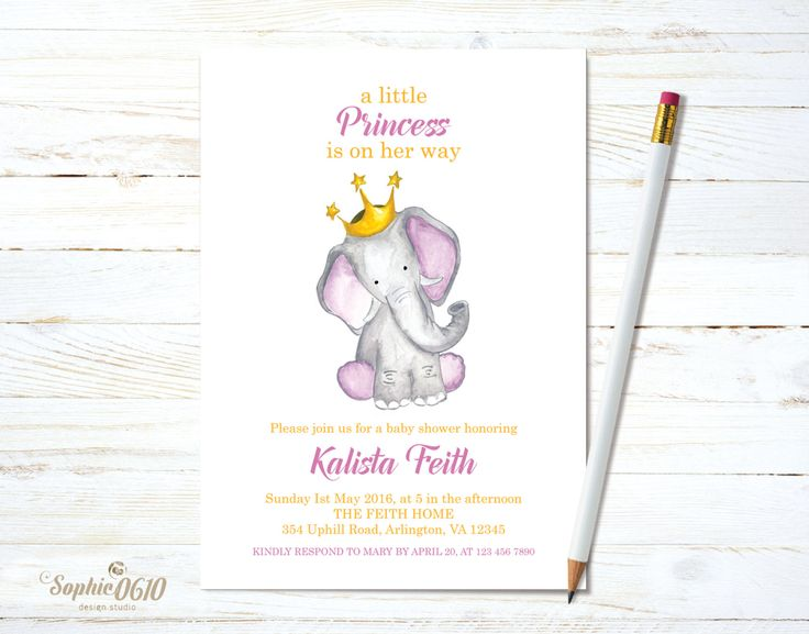 Shower the baby princess to come with a watercolor invite just click and visit www.sophie0610designs.etsy.com  Printable baby shower invitation, Watercolor princess baby elephant, digital file by Sophie0610Designs on Etsy