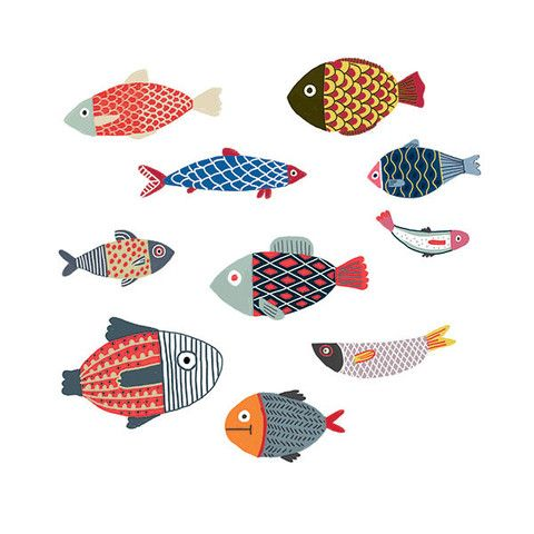Fish illustration, Poissons by Elise Gravel
