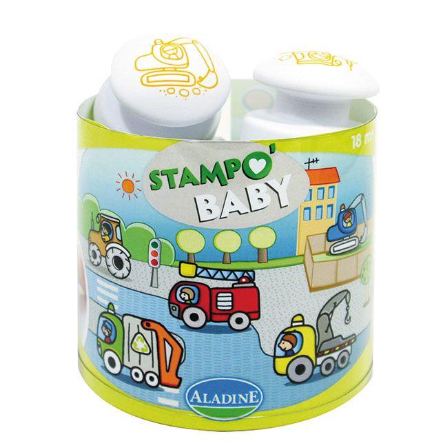 """""""Stampo Baby Baumaschinen""""  Mit Stampo Baby können die Kleinen ab 18 Monaten ihren Spaß daran entdecken, ihre ersten Motive mit den großen ergonomischen Stempeln abzubilden. Inhalt: ein Maxi-Stempelkissen mit abwaschbarer Tinte und 5 große Stempel für kleine Babyhände.      ab 18 Monaten     abwaschbare Stempelfarbe"""