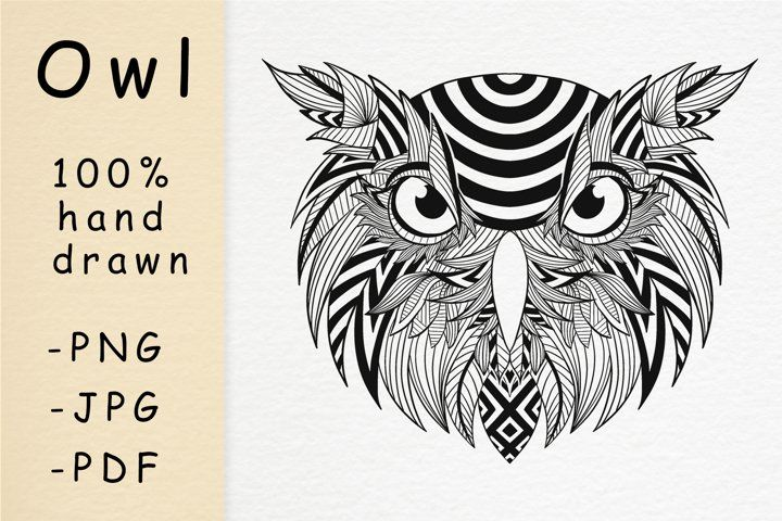 Hand Drawn Owl Head With Patterns In 2020 How To Draw Hands Owl Head Draw