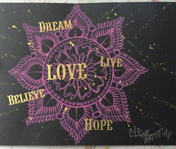 Mandala of Love/pink/gold/yellow/black media by CLoTheArtist