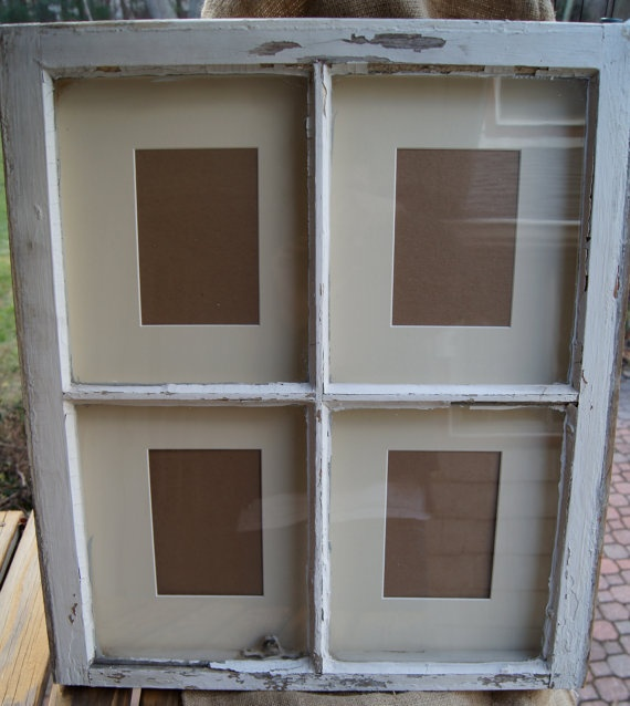 Shabby chic reclaimed window picture frame for How to use an old window as a picture frame