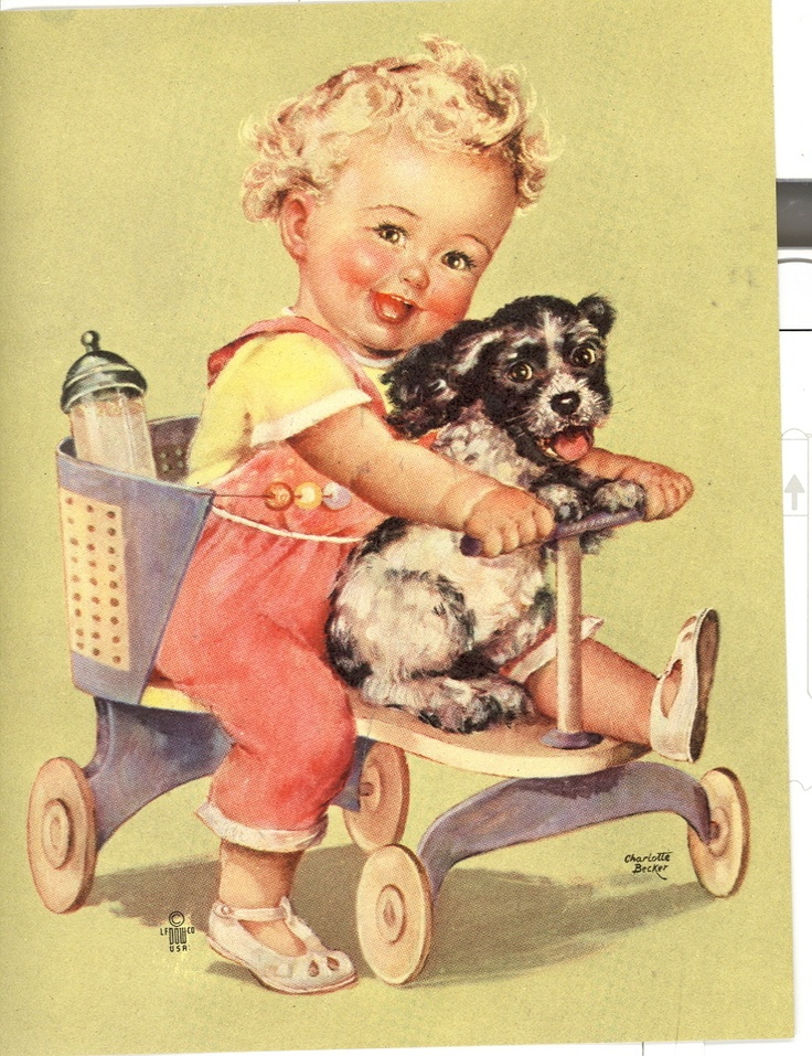 Charlotte Becker - Baby & Cocker-This is stroller my Sister Janet had, this could be her-Marilyn (Busby) Horchem