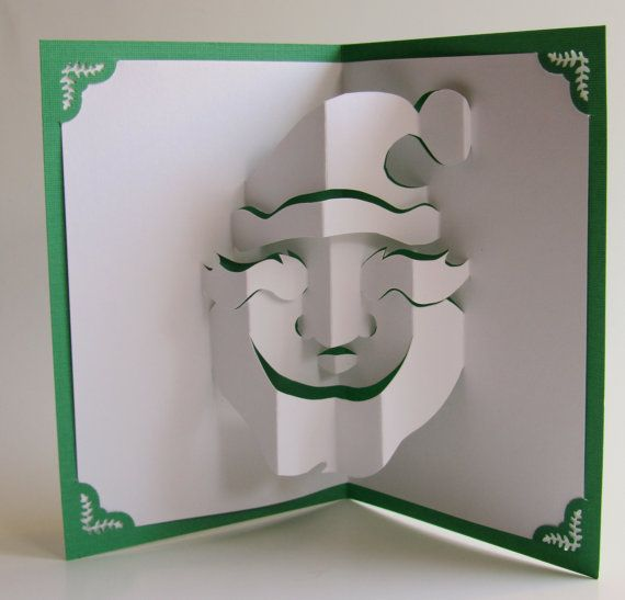 Santa Claus Christmas Pop Up Card Home Décor 3D Handmade Cut by Hand Origamic Architecture in Forest Green and White.