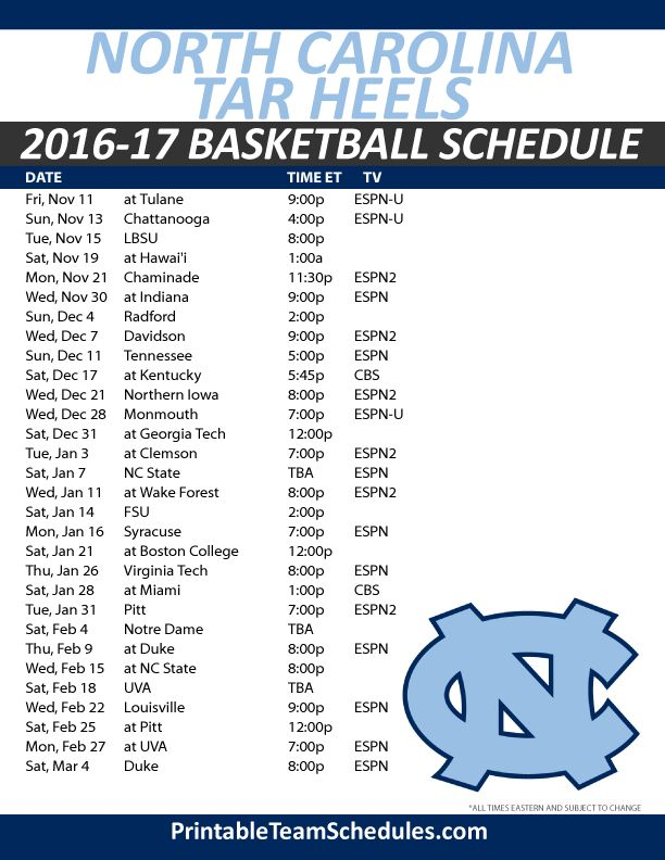Delicate image throughout unc basketball schedule printable