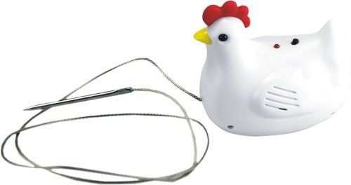 Chef Pals Chicken Thermometer by Chef Pals. $10.60. Cock-a-doodle-do sound when done. Heat resistant 36-inch cable. Stainless steel probe. Chicken 165-Degree F. Introducing… the next must have kitchen tool, The Chef Pals Meat Thermometers. Not only is this new kitchen gadget cute as can be, it's also really easy to use and accurate. Simply place the steel probe into the center of the meat for each designated animal, extend the 36-inch heat resistant cable outs...