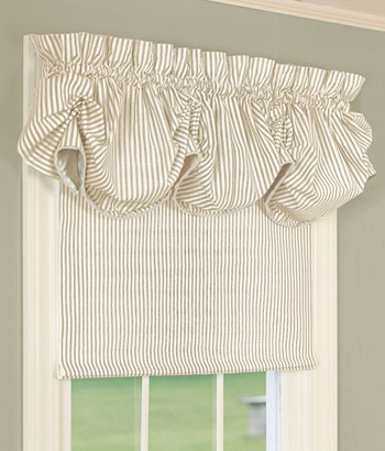 Ticking Stripes Insulated Roller Shade minus the frilly valance
