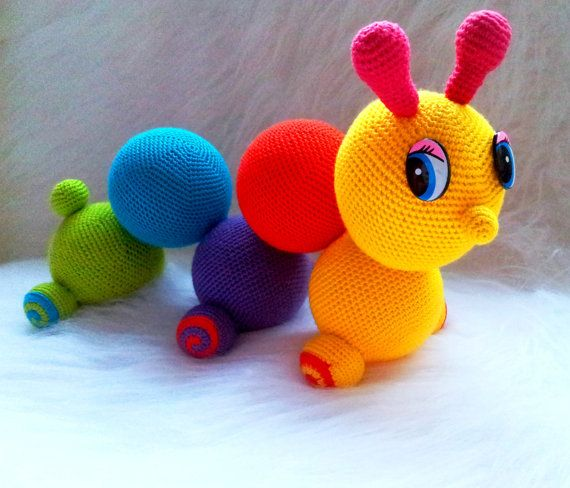 Worm butterfly colorful Crochet amigurumi от NewCrochetWorld, $6.50