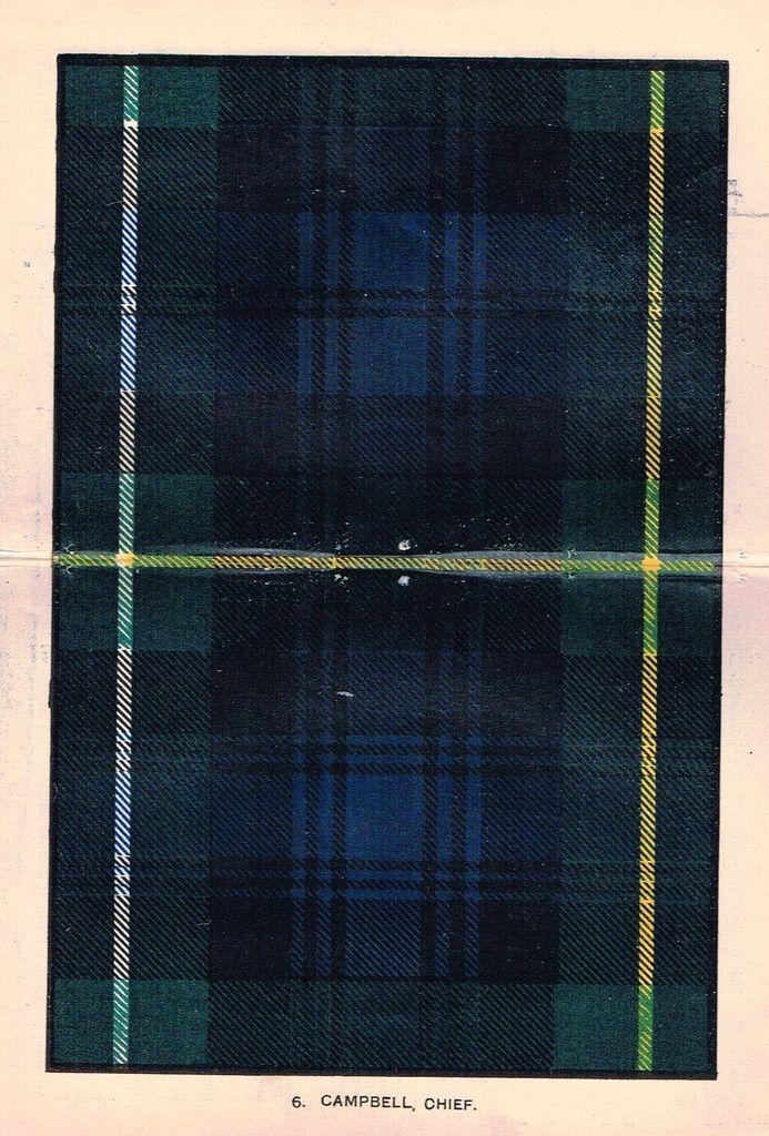 "Johnston's Scottish Tartans - ""CAMPBELL, CHIEF"" - Chromolithograph - c1890"