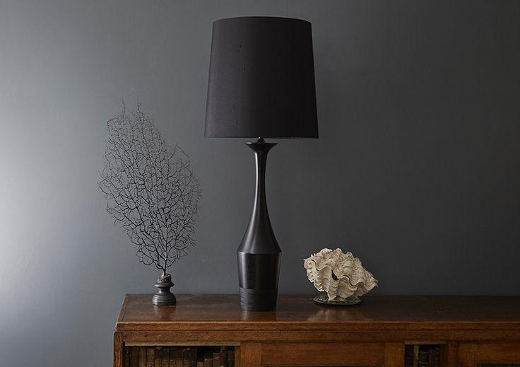 Taza hevea wood hand-turned lamp base (Black) - Copper & Silk