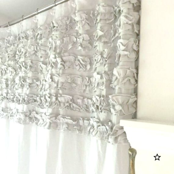 Six Ruffle Linen Shower Curtain Bathroom Curtain Comes In Custom