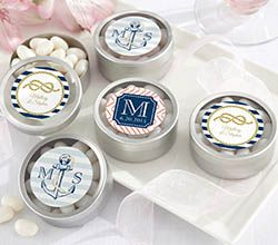 Personalized Round Candy Tin - Nautical Wedding - Personalized Favors by Kate Aspen
