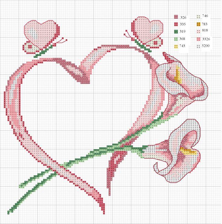cuscino Schemi punto croce anello con fiori calla lily - gratis modelli di punto croce a crochet amigurumi