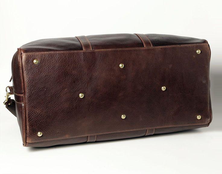 Large Zip Top Duffle Bag - Brown - In stock - Bottom View