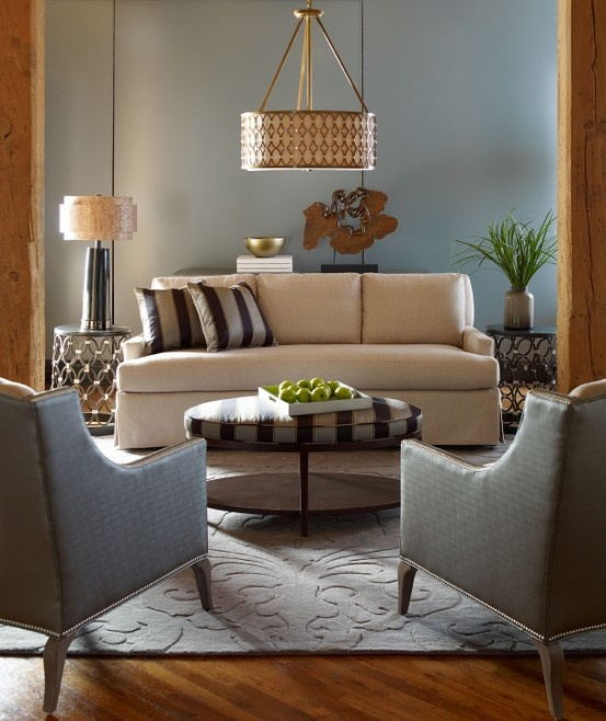 "@Candice Olson says ""What I love about this vignette: shadows and light, reflective metals, and soft neutral hues contrasted with strong black stripes."" Highland House Furniture by Candice Olson. Rug from the Sculpture Collection designed by Candice for Surya. (SCU-7522) #upholstery #furniture"