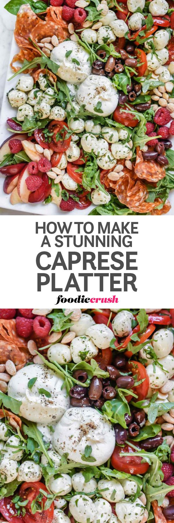 Laying all your favorite caprese salad ingredients—like burrata cheese, marinated mozzarella balls, tomatoes and fresh stone fruit—out on a platter instead of layered in a bowl makes this self-serve salad or appetizer the easiest way to choose all your favorite bites. | caprese salad | burrata caprese salad | potluck caprese salad | salad for a crowd | foodiecrush.com