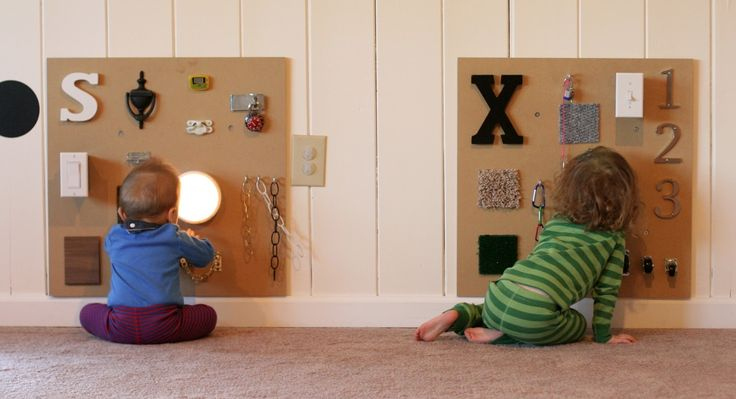 Three different DIY sensory boards along with ideas for how to include older siblings from Fun at Home with Kids
