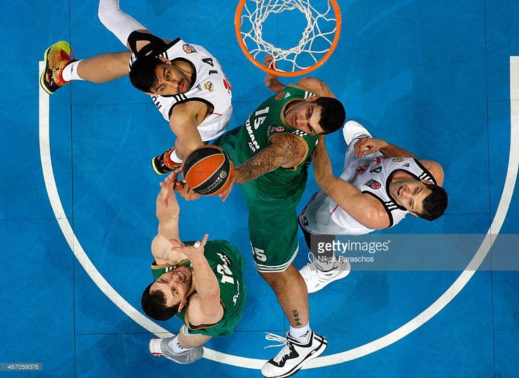 ..._Esteban Batista, #15 of Panathinaikos Athens competes with Gustavo Ayon, #14 of Real Madrid during the Turkish Airlines Euroleague Basketball Top 16 Date 11 game between Panathinaikos Athens v Real Madrid at Olympic Sports Center Athens on March 20, 2015 in Athens, Greece.