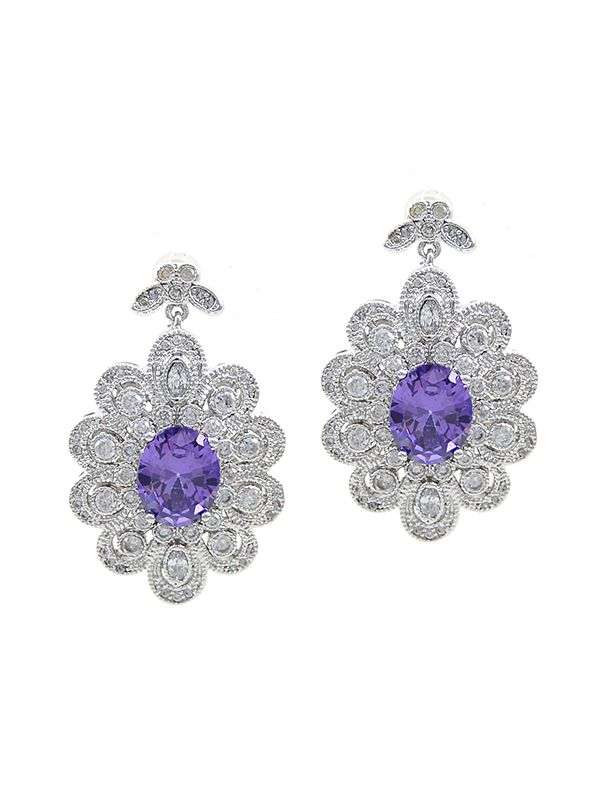baroque inspired jewelry platinum plated amethyst cz dangle earrings