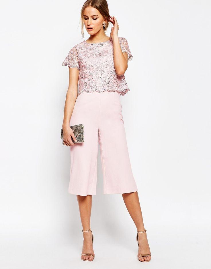 Warehouse Lace Culotte Jumpsuit