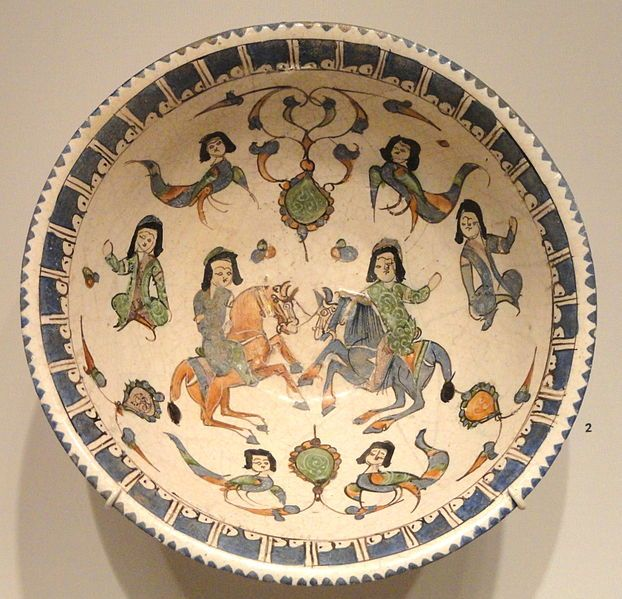 Bowl with Horsemen, Harpies, and Seated Figures, late 12th - early 13th century, Seljuk-Atabeg period, Kashan, Iran - Sackler Museum