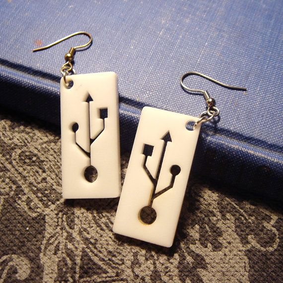 USB Symbol Geek Earrings- Laser Cut Acrylic on Etsy, £5.60 - I like the red acrylic ones of these