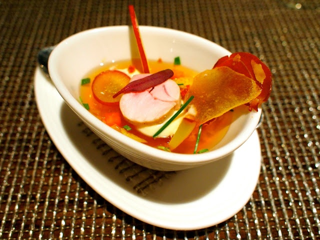 Chef Tom Kitchin: Jellied consommé of Blackford Estate pheasant,  served with celeriac cream, apple, and crispy bacon