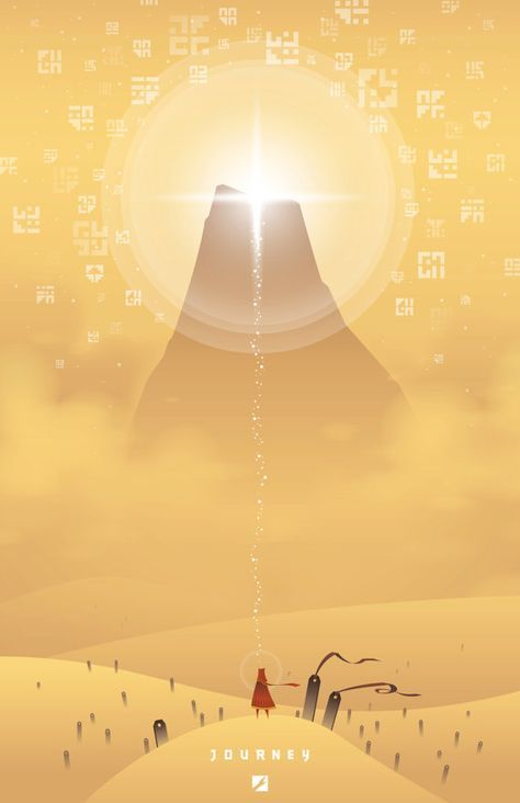 This is a tribute poster for the game Journey created by thatgamecompany.    -This piece is digitally printed on fine semi-matte photo