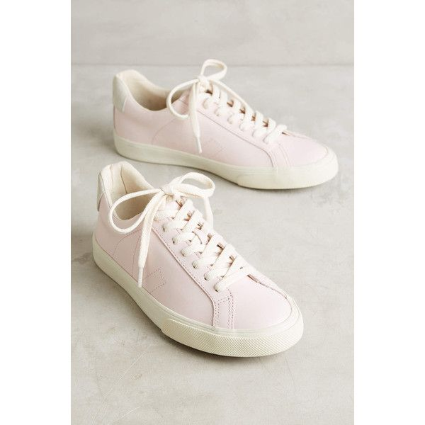 Veja Esplar Sneakers ($118) ❤ liked on Polyvore featuring shoes, sneakers, pink, leather upper shoes, veja, veja shoes, veja sneakers and canvas shoes