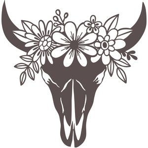 Cow Skull With Flowers Cricut Silhouette Design Cricut