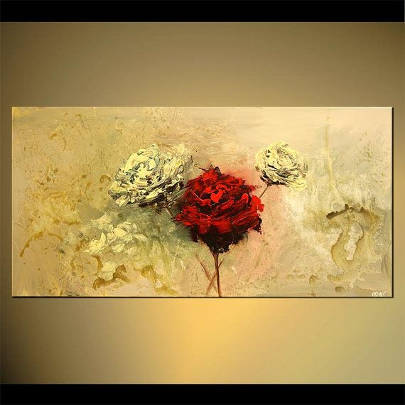 Original Floral Abstract Blooming Flowers Painting by OsnatFineArt, $639.00
